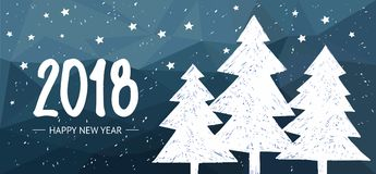 Happy New Year holiday card on lowpoly background with Hand drawn lettering. 2018 Royalty Free Stock Photo