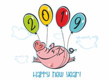 Happy New Year. Holiday card. The symbol of the new year 2019 is the Pig. Funny pig flies on balloons. The cartoon style. Vector stock illustration