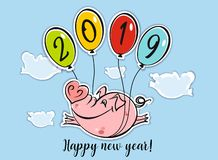 Happy New Year. Holiday card. The symbol of the new year 2019 is the Pig. Funny pig flies on balloons. The cartoon style. Vector royalty free illustration