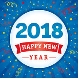 2018 happy new year holiday confetti card. 2018 vector numbers and text Happy New Year on flash radial lines blue background and colored confetti Stock Photography