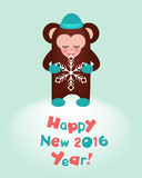 Happy New 2016 Year holiday congratulation card Stock Images