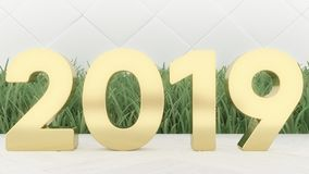 Happy New 2019 Year. Holiday 3d illustration gold numbers 2019. On a wooden background. green grass. Trendy cover royalty free stock photo