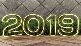 Happy New 2019 Year. Holiday 3d illustration gold numbers 2019. On a wooden background. green grass. Trendy cover design stock illustration
