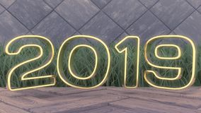 Happy New 2019 Year. Holiday 3d illustration gold numbers 2019. On a wooden background. green grass. Trendy cover design royalty free stock images