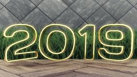 Happy New 2019 Year. Holiday 3d illustration gold numbers 2019. On a wooden background. green grass. Trendy cover design stock photos