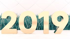 Happy New 2019 Year. Holiday 3d illustration gold numbers 2019. On a wooden background. green grass. Trendy cover stock photos