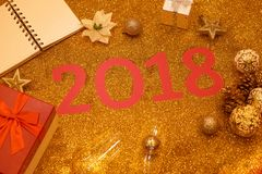 Happy New Year 2018. Holiday gold background.  Stock Photos