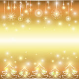 Happy new year. Holiday gold background. Christmas background with snowflakes and Christmas trees Stock Images