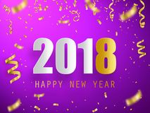 Happy new year 2018. Holiday greeting card card. Template for your design. Vector. Illustration Stock Images