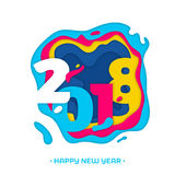 2018 Happy New Year greeting card snowflakes background vector paper text carving. 2018 Happy New Year holiday greeting card with color number text paper carving Stock Images