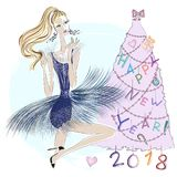 Happy New Year 2018 holiday greeting card with cute fashion girl near pink Christmas tree. Xmas illustrations. Art royalty free illustration