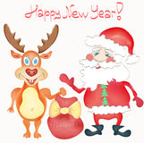 Happy New Year Holiday Greeting card with Deer and. Santa Claus cartoon characters with Presents bag Hand drawn on white background in vector stock illustration