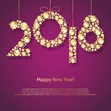 2018 Happy New Year holiday greeting card. With shining gemstones. Vector background, winter holiday poster design, sparklind golden diamonds Royalty Free Stock Images