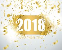 Happy new year 2018. Holiday greeting card card. Template for your design. Vector. Illustration Royalty Free Stock Images