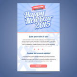 Happy New Year Holiday Greeting email template. In flat style. Vector illustration Royalty Free Stock Photo