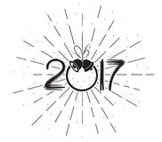 Happy New 2017 Year. Holiday Illustration With Composition with burst.  Stock Images