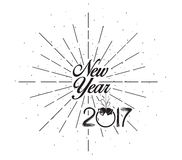 Happy New 2017 Year. Holiday Illustration With Lettering Composition with burst.  Stock Image