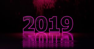 Happy New Year 2019. Holiday illustration purple neon numerals 2019 on a background in gray half-flowers with light effects. 3d rendering. Happy New Year 2019 stock illustration