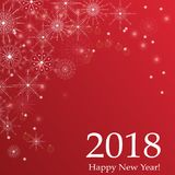 Happy New Year 2018 holiday lettering design vector greeting illustration. Winter red white holiday background with snowflakes  for postcards, banners, cover Royalty Free Stock Photography