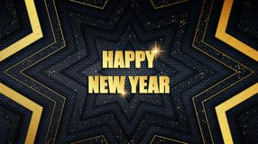 Happy New Year metal background with golden dust overlay texture stock illustration