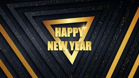 Happy New Year metal background with golden dust overlay texture. Happy New Year holiday metal banner. Abstract black and gold brushed metallic triangle panels royalty free illustration