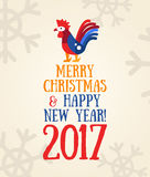 Happy New Year 2017 - holiday poster with a rooster. Merry Christmas and Happy New Year 2017 - vector modern flat design hipster illustration with a year symbol Royalty Free Stock Images