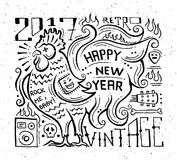Happy New Year 2017 - holiday poster with a rooster Stock Photo