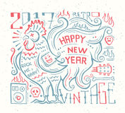 Happy New Year 2017 - holiday poster with a rooster Royalty Free Stock Photos