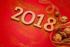 Happy New Year 2018. Holiday red background.  Royalty Free Stock Images