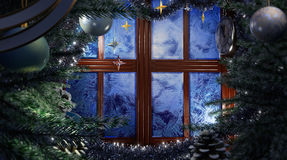Happy New Year holiday scene with frost window Royalty Free Stock Photo
