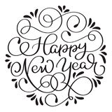 Happy New Year holiday text with vintage. Hand drawn Calligraphy lettering Vector illustration EPS10 Stock Photography