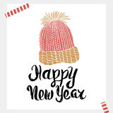 Happy New Year - Holiday unique handwritten lettering made with ink. Ready design for card, background and invitation. Royalty Free Stock Photos