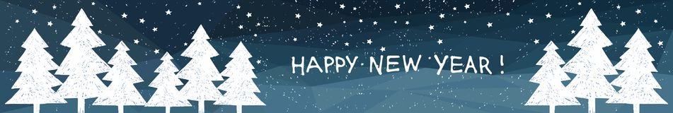 Happy New Year 2018 holiday vector banner on lowpoly blue background with Hand drawn lettering. Fir tree. Happy New Year holiday banner on lowpoly blue Royalty Free Stock Images
