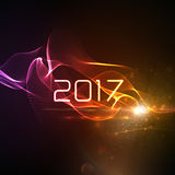 Happy new year 2017. Holiday vector illustration of 2017 and abstract digital neon wave. 3d illuminated neon wave of particles and lens flare light effect vector illustration
