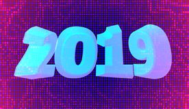 Happy New Year 2019. Holiday vector illustration of a blue numeral 2019 on a neon purple color background. Realistic 3d sign. royalty free stock photos