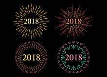 Happy New 2018 Year. Holiday Vector Illustration With Festive Typographic Composition. Happy New Year 2018 Label With Graphic Multicolored Firework Shape Royalty Free Stock Images