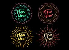 Happy New 2018 Year. Holiday Vector Illustration With Festive Typographic Composition. Happy New Year 2018 Label With Graphic Multicolored Firework Shape Stock Photos