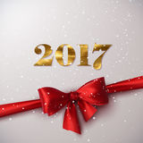 Happy New 2017 Year. Holiday Vector Illustration Of Happy New 2017 Year Label With Golden Paint Texture, Red Satin Ribbon, Bow And Snowflakes Royalty Free Stock Photo