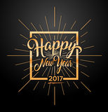 Happy 2017 New Year. Holiday Vector Illustration With Letter Composition And Star Burst. Golden Textured Happy New Year Text Stock Photo