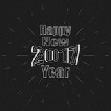 Happy 2017 New Year. Holiday Vector Illustration With Lettering Composition And Burst. Monochrome Text Happy New Year Label Stock Photography