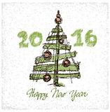 Happy New 2016 Year. Holiday Vector Illustration. With Lettering Composition with Christmas tree. Greeting card Royalty Free Stock Photography
