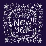 Happy New Year 2019. Holiday VectorHapp Illustration Lettering Composition. Modern brush calligraphy. Isolated on white background. Happy New Year 2019. Holiday vector illustration