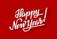 Happy New Year. Holiday vector lettering on red background. Eps8. RGB. Global colors Stock Photos