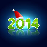Happy new year holiday. Vector santa claus hat on 2014 new year stock illustration