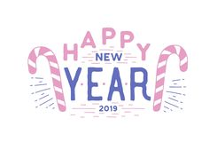 Happy New Year holiday wish written with elegant calligraphic font. Handwritten festive lettering or inscription. Decorated with candy canes. Modern vector vector illustration