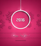 Happy New 2016 Year. Happy 2016 Holidays Background With Ball, Snowflakes And Title Inscription With Shadows Royalty Free Stock Photography