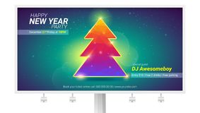 Happy new year. Holidays billboard with Christmas tree from pattern of colored triangles. Modern invitation on New year. Party with design of text vector illustration
