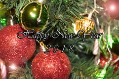 Happy New Year 2018. Holidays decoration  as colored background Stock Images
