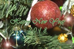 Happy New Year 2018. Holidays decoration as colored background royalty free stock photography