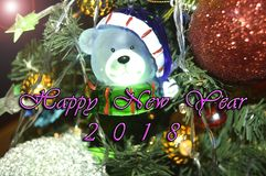 Happy New Year 2018. Holidays decoration  as colored background Royalty Free Stock Images